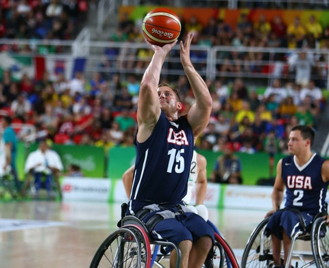 Nate Hinze of Cedar Grove during the Men Wheelchair Basketball match between Brazil and the United States at the Olympic Arena on Day 1 of the Rio 2016 Paralympic Games on September 8, 2016 in Rio de Janeiro, Brazil. (Photo by Lucas Uebel/Getty Images)
