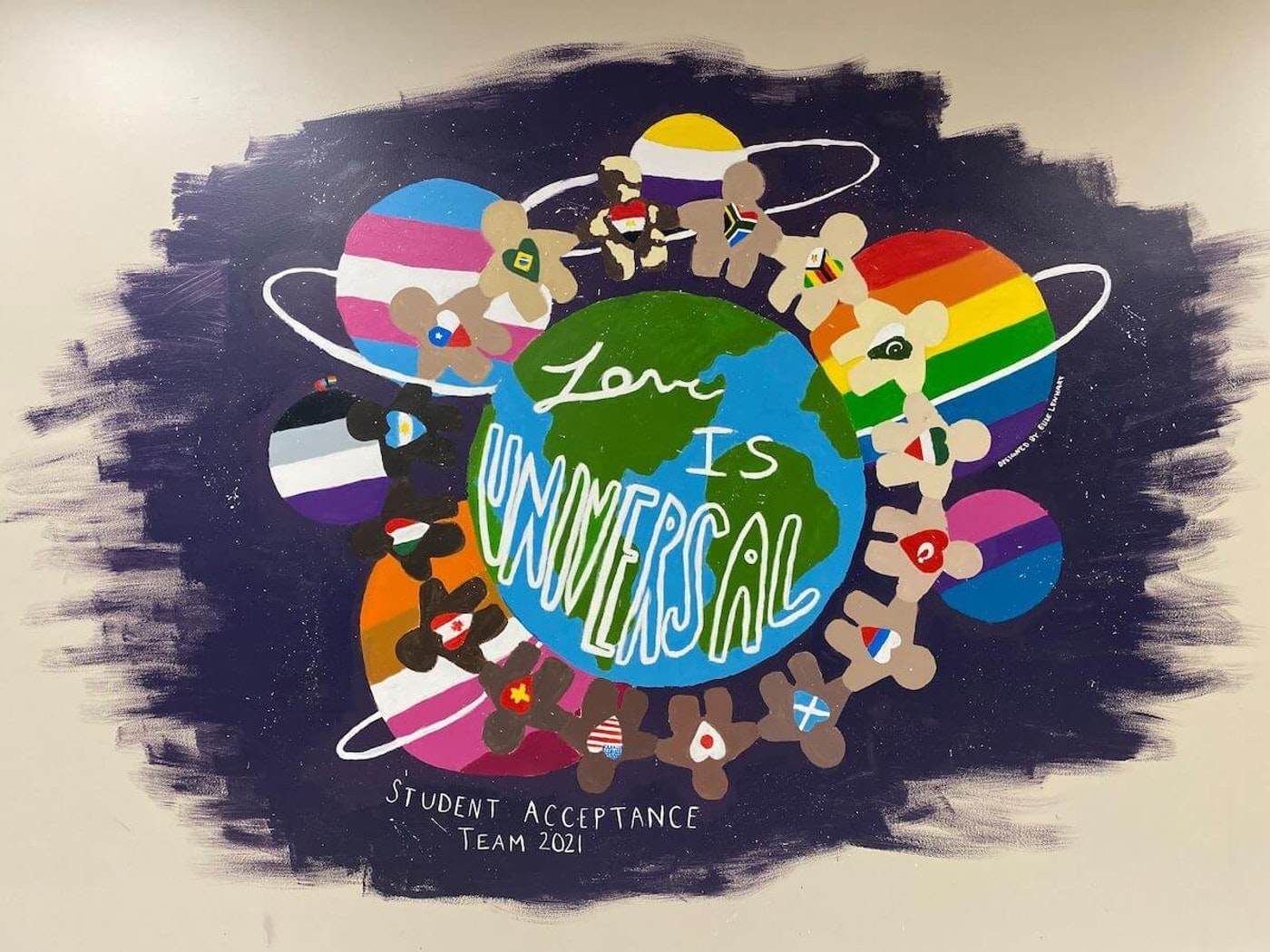 """The Cedarburg School District covered up this mural in Webster Middle School because, it claimed, the mural didn't represent """"all members of our school community"""" and the students didn't get final approval. (Photo via Webster Middle School/Facebook)"""