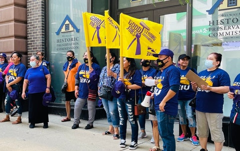 Downtown Milwaukee janitors secured a new union contract that guarantees a $15 minimum wage and lets any janitor in the greater Milwaukee area union-eligible. (Photo courtesy of MASH)