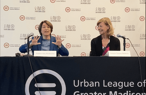 Sen. Amy Klobuchar (D-Minnesota), left, and Sen. Tammy Baldwin (D-Wiscosnsin) met with voting rights advocates Thursday in Madison to discuss ongoing efforts to protect the right to vote. (Photo by Christina Lieffring)