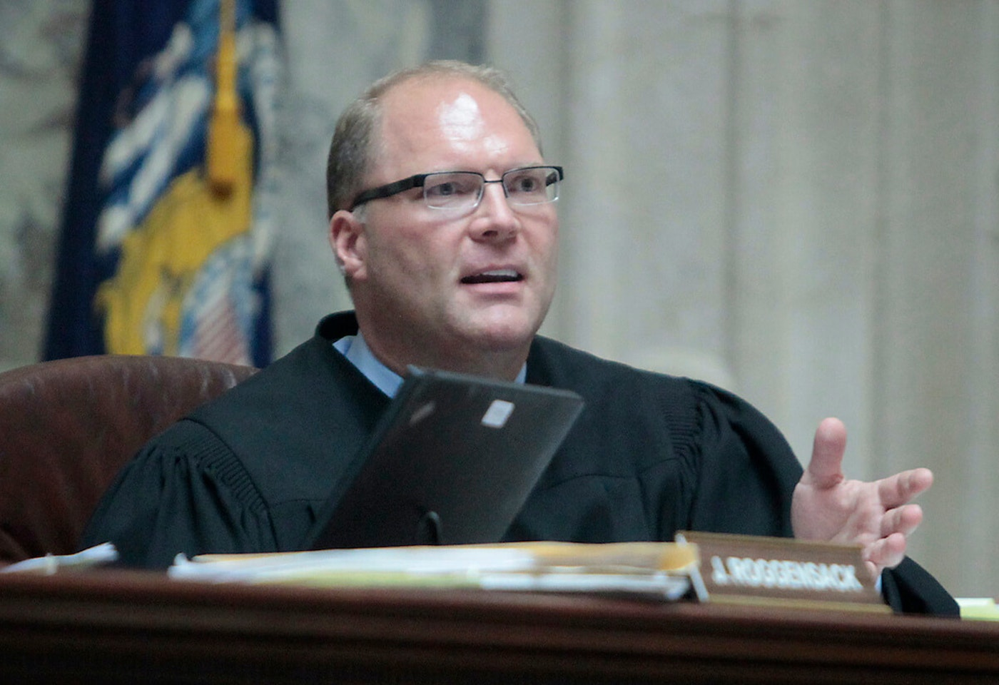 Former Wisconsin Supreme Court Justice Michael J. Gableman, pictured here in 2011, has been hired by Assembly Speaker Robin Vos (R-Rochester) to investigate baseless concerns over the 2020 election. The investigation is one of many nationwide as Republicans follow the lead of former President Donald Trump and work to undermine faith in the electoral process. (John Hart/Wisconsin State Journal, Pool Photo via AP File)