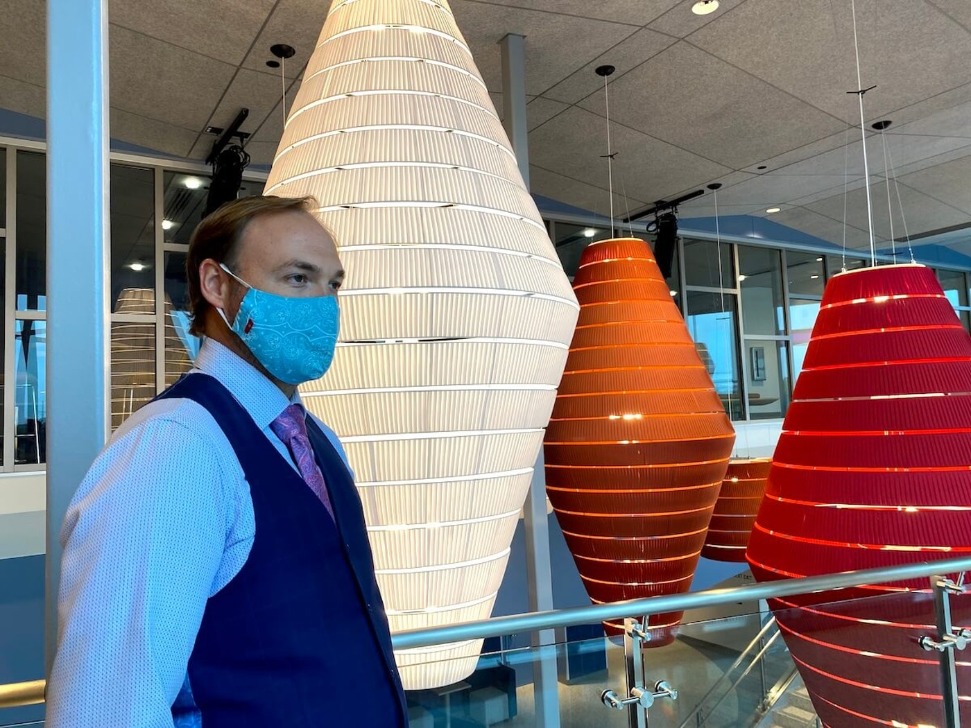 """Jason Jon Anderson, executive director of the Pablo Center at the Confluence in Eau Claire, discusses challenges that arts center and others have faced without operating revenue during the coronavirus pandemic. He called federal relief funding to the Pablo Center and other art and entertainment venues """"a vital lifeline"""" and said many of them may have had to shut down for good without those dollars. (Photo by Julian Emerson)"""