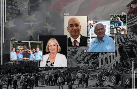 From left: Sue Hoefs, Elie Gendloff, and Tom Mall were among more than a dozen UpNorthNews readers who reflected on 9/11 ahead of the 20th anniversary. (Graphic by Morgaine Ford-Workman)