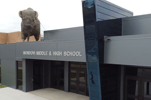 Students and staff at Mondovi Middle & High School will have to wear masks starting Monday, Oct. 4. The Mondovi school board voted unanimously to require masks last week following the death of a student who had tested positive for COVID-19.  (Photo via Mondovi School District)