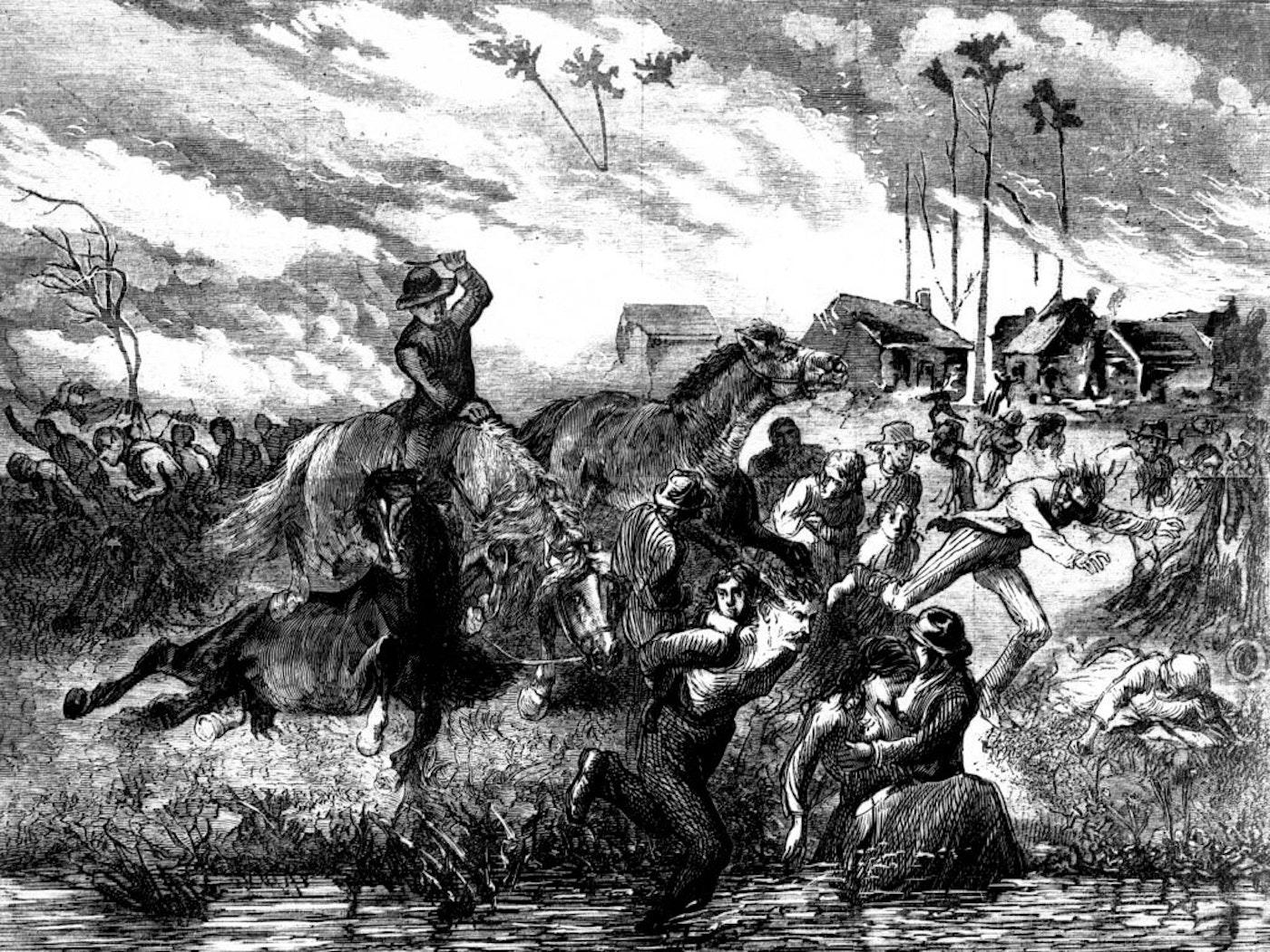 People sought refuge in the ice-cold waters of the Peshtigo River to avoid certain death during the Peshtigo fire in October 1871. (Illustration by GJ Tisdale, via Peshtigo Fire Museum)
