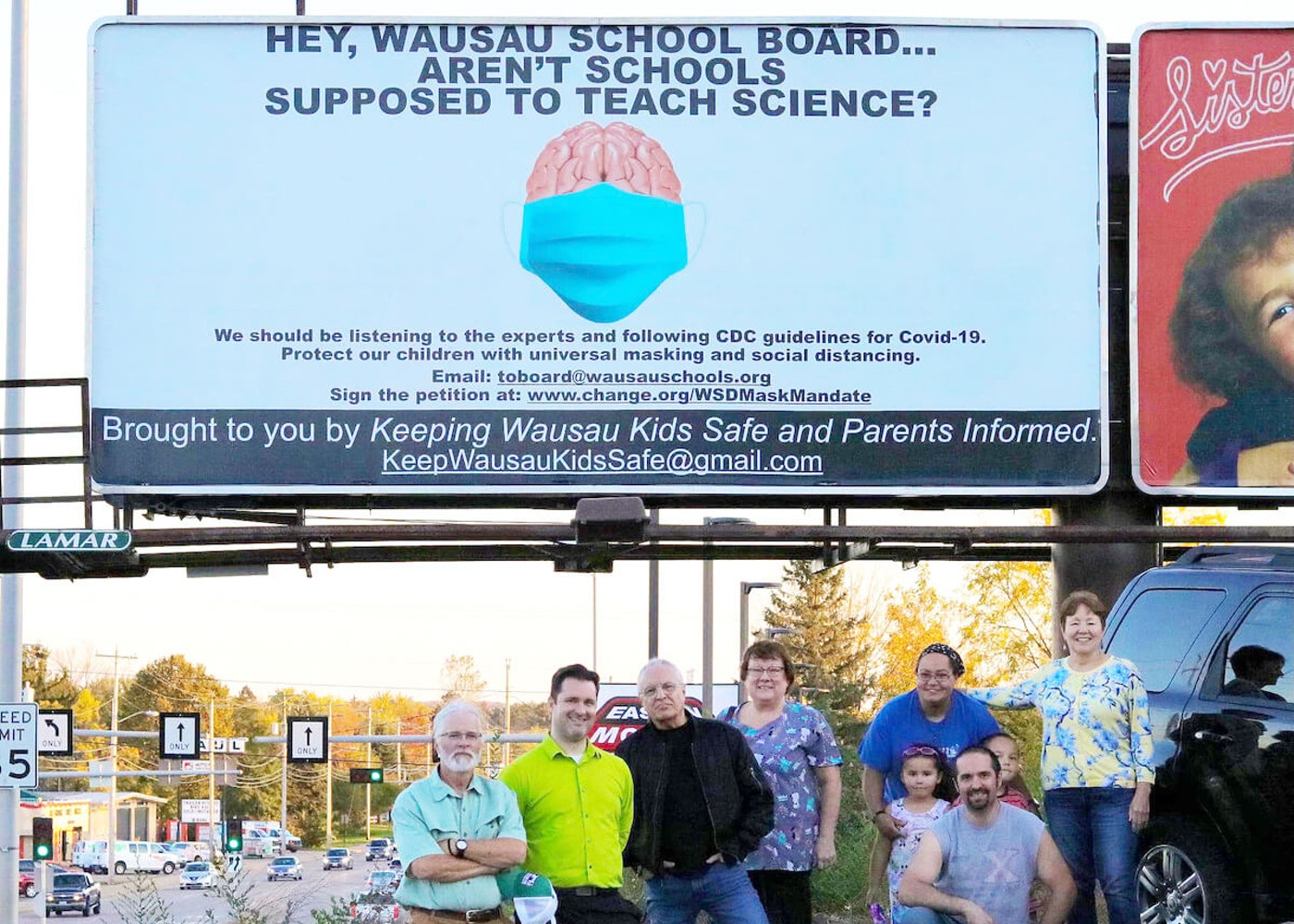 Keeping Wausau Kids Safe & Parents Informed, a local parent group based in Wausau, purchased a billboard to push for a mask requirement in the local school district. The group is one of several across Wisconsin who are forming to fight back against the loud minority of people against COVID-19 safety measures in schools. (Photo courtesy of Jean Radtke)