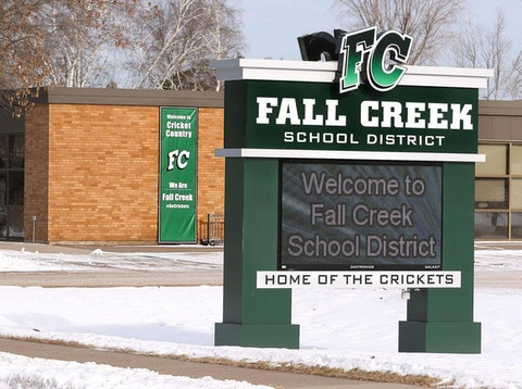 A photo of the Fall Creek School District building in  Eau Claire County. Gina Kildahl, a parent whose 7-year-old son contracted COVID-19 while attending the school, recently filed a lawsuit against the district for failing to implement masking requirements and other precautions aimed at mitigating the spread of the virus. (Photo courtesy of the Fall Creek School District)