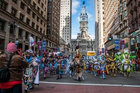 2020 New Years Day Mummers Parade. Image via Shutterstock