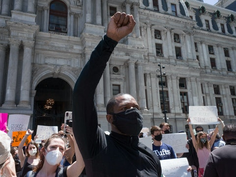 A scene from a protest in the aftermath of the death of George Floyd, an unarmed black man who was killed by a white police officer in Minneapolis on May 25 2020. Image via Shutterstock