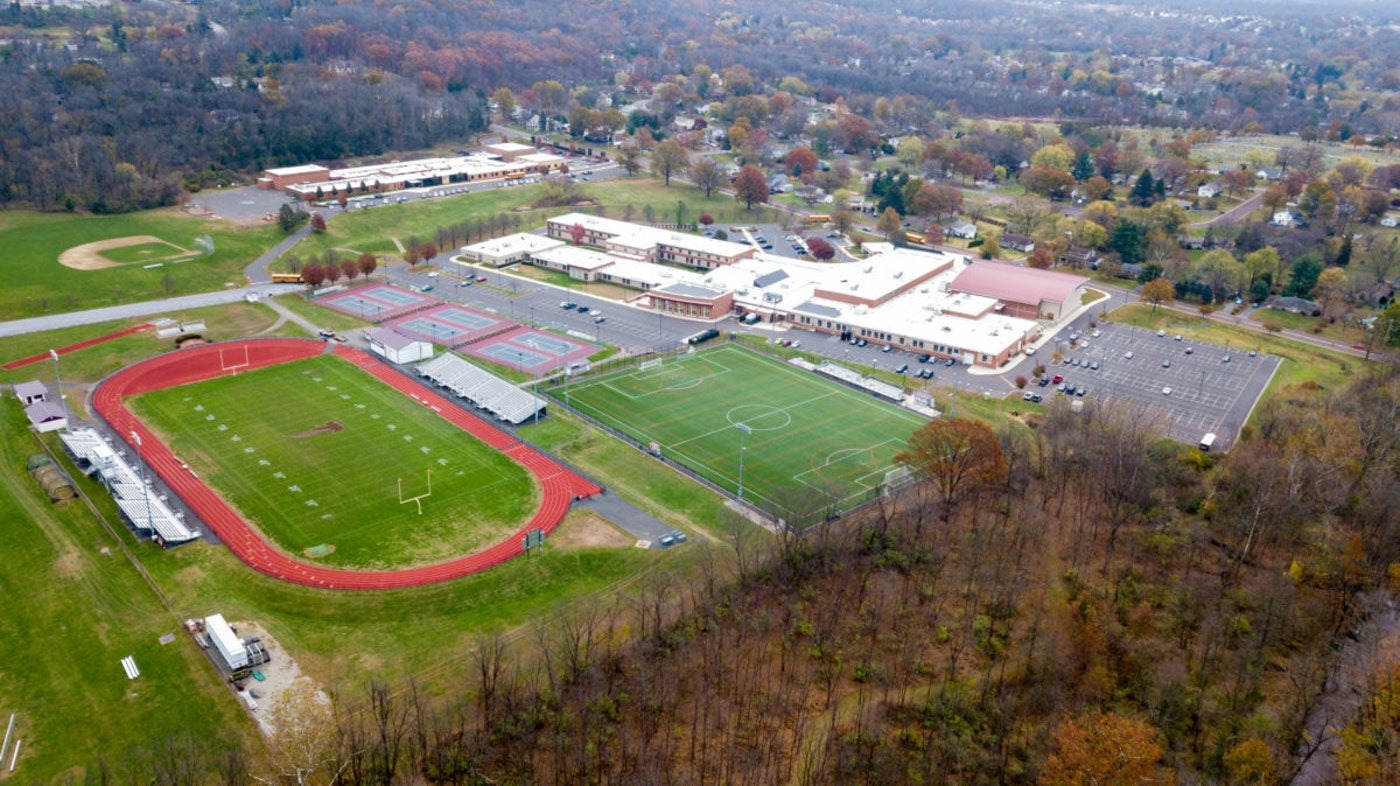 Aerial view of Pottsgrove High School in Lower Pottsgrove Township. (Shutterstock Photo/Don Valentine Photography)