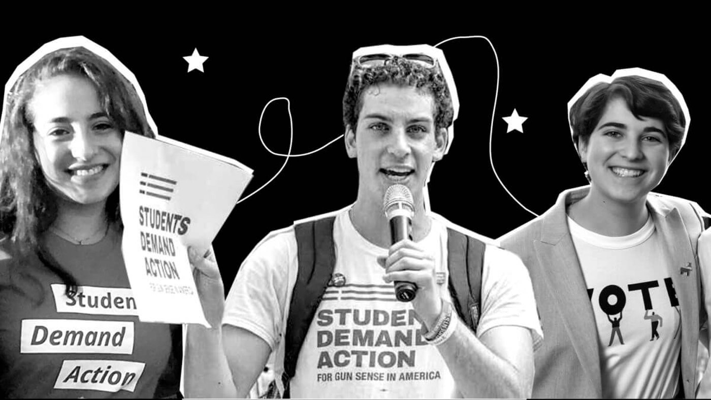 Catie Jacobson (left), Mitchell Pinsky, and Talia LeVine. Images via subjects; graphic treatment by Denzel Boyd for COURIER