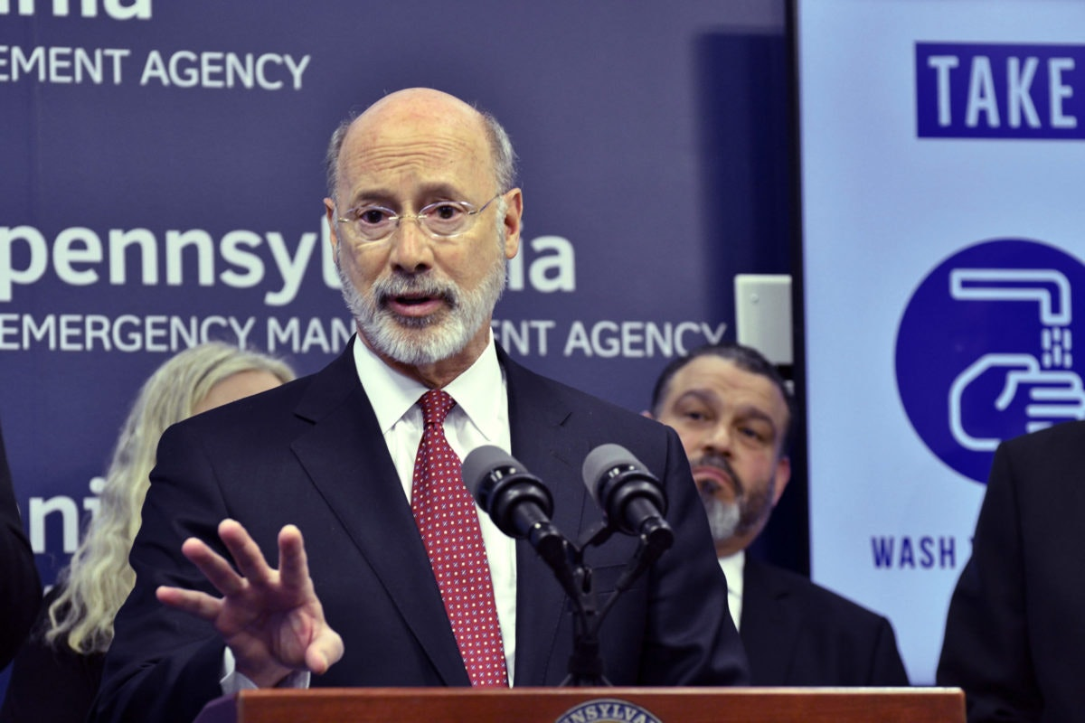 In this March 12, 2020, file photo, Gov. Tom Wolf speaks at a news conference at Pennsylvania Emergency Management Headquarters in Harrisburg, Pa. A federal judge in Pittsburgh has ruled that the state's coronavirus restrictions, specifically the stay-at-home order and the order to close all non-life-sustaining businesses, violate the Constitution. (AP Photo/Marc Levy, File)