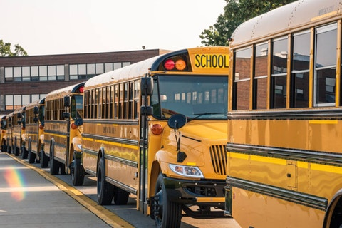 School buses in coronavirus pandemic