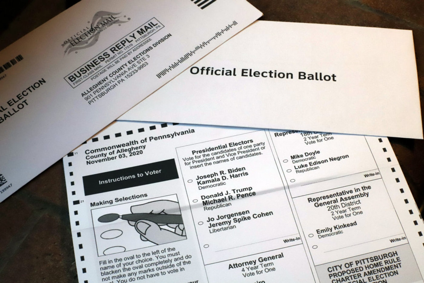 This is a mail in ballot for the 2020 General Election issued by the Allegheny County Election Division in Pittsburgh, Friday, Oct. 2, 2020. (AP Photo/Gene J. Puskar)
