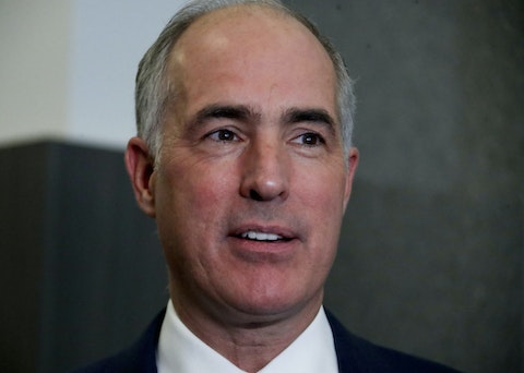 U.S. Sen.Bob Casey, speaks to reporters in 2018, in the studio of KDKA-TV in Pittsburgh. (AP Photo/Gene J. Puskar)