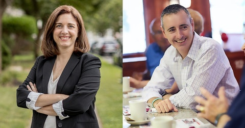Portraits of Pennsylvania 1st Congressional District Democratic candidate Christina Finello (left) and Republican US Rep. Brian Fitzpatrick (right). (Photos courtesy of the candidates' campaigns.)