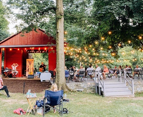 A band performs in the historic corn barn at Nissley Vineyards over the summer. The Lancaster County winery holds a Music in the Vineyards concert series every summer, but scaled it back in 2020 due to the pandemic. (Courtesy of Nissley Vineyards)