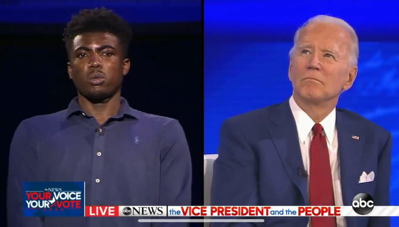 Cedric Humphrey asks Joe Biden a question during a town hall on ABC in early October. (Screenshot)
