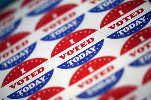 Vote stickers are seen at a satellite election office at Temple University's Liacouras Center, Tuesday, Sept. 29, 2020, in Philadelphia. (AP Photo/Matt Slocum)