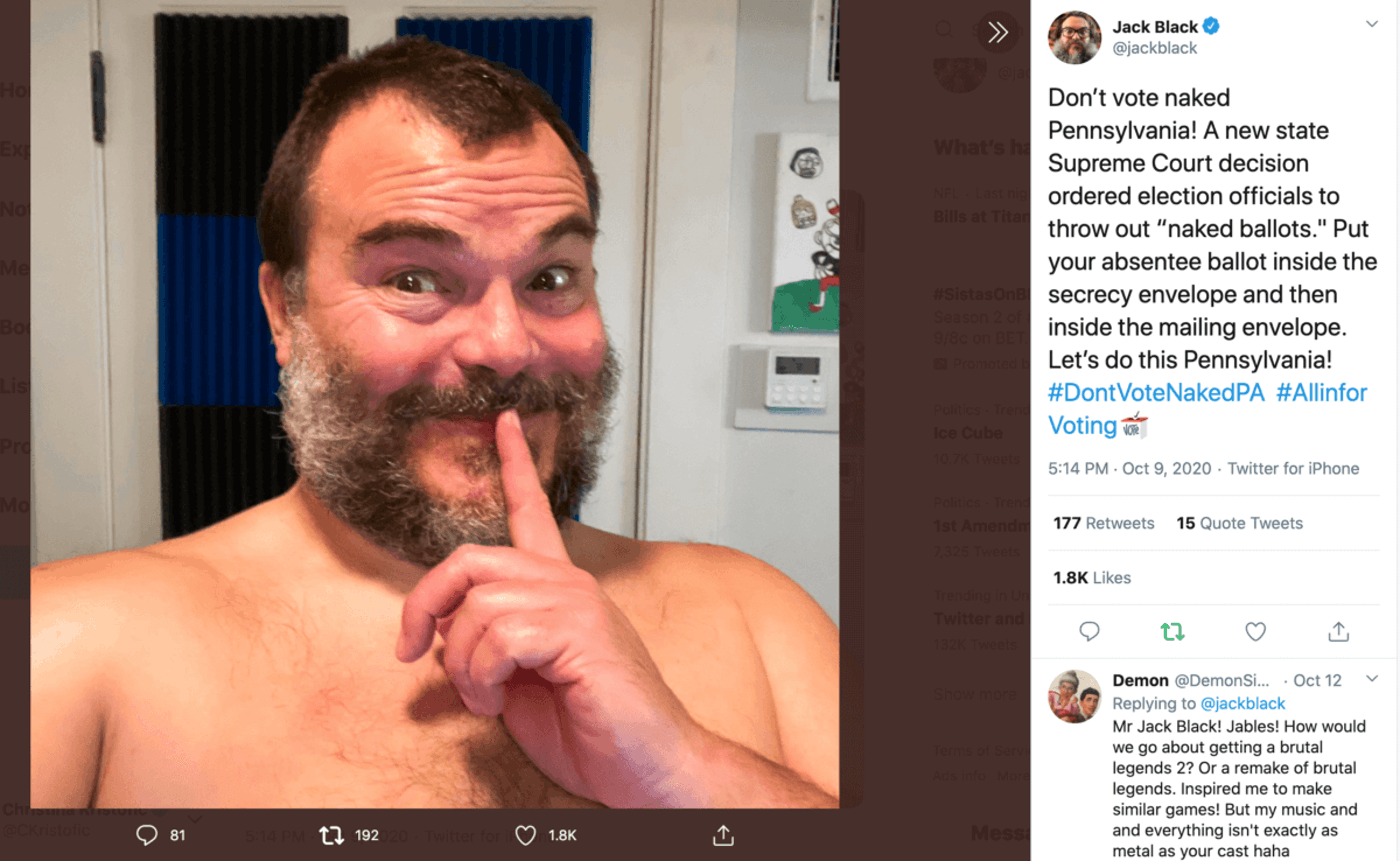 """Jack Black and other celebrities are encouraging Pennsylvania voters to be careful not to mail in """"naked ballots."""" (Screenshot)"""