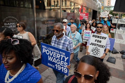 State Sen. Art Haywood (D-Philadelphia/Montgomery) and activists march to demand a higher minimum wage on July 12, 2019. (Pennsylvania Senate Democratic Caucus/James Robinson)