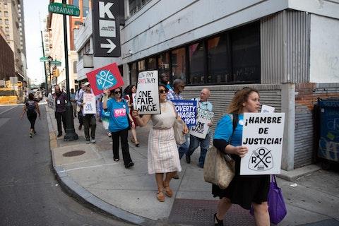 State Sen. Art Haywood (D-Philadelphia/Montgomery) and activists march for a higher minimum wage on July 12, 2019, in Philadelphia. (Pennsylvania Senate Democratic Caucus/James Robinson)