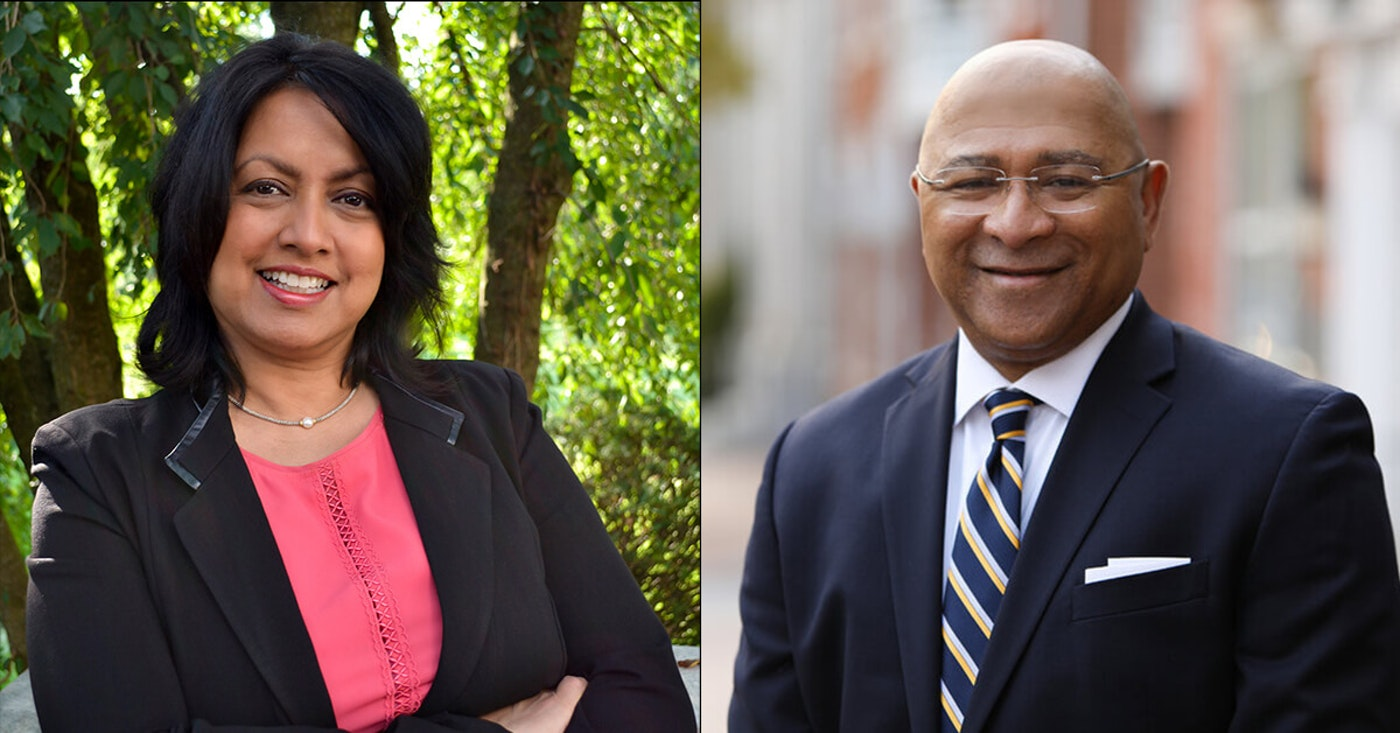 Democrat Nina Ahmad (left) and Republican Timothy DeFoor (right) are seeking election to the state Auditor General Office. Whoever wins will be the first person of color elected to that office. (Courtesy of the candidates' campaigns)