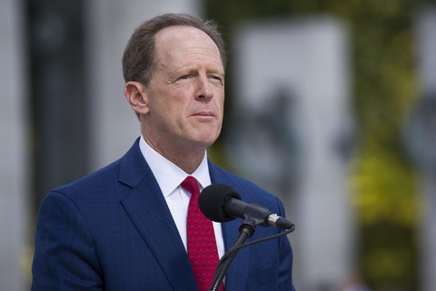 Sen. Pat Toomey, R-Pa., speaks during a ceremony in September 2019 in Washington, D.C. (AP Photo/Alex Brandon)