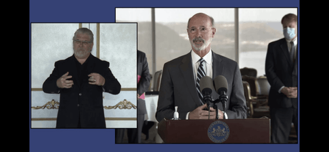 Gov. Tom Wolf speaks at a news conference on Thursday, Oct. 22, 2020, in Pittsburgh. (Screenshot)