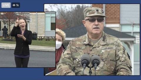 National Guard Lt. Col. Dr. Albert Fogle speaks during a news conference on Thursday, Nov. 12, 2020. (Screenshot)