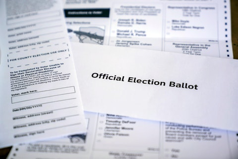 This is a Commonwealth of Pennsylvania, County of Allegheny Official Mail-in General Election Ballot in Pittsburgh on Thursday, Oct. 22, 2020. (AP Photo/Gene J. Puskar)