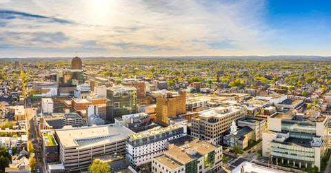Aerial panorama of Allentown, Pennsylvania skyline on late sunny afternoon. Allentown is Pennsylvania's third most populous city. (Shutterstock Photo/Mihai Andritoiu)
