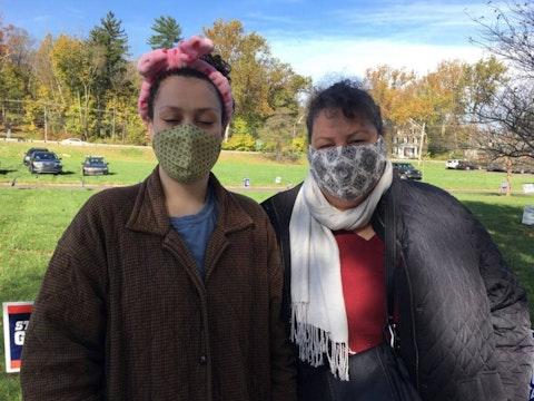 Bekah and Nancy Comley stand outside their polling place in Bucks County. (Keystone Photo/Freda Savana)