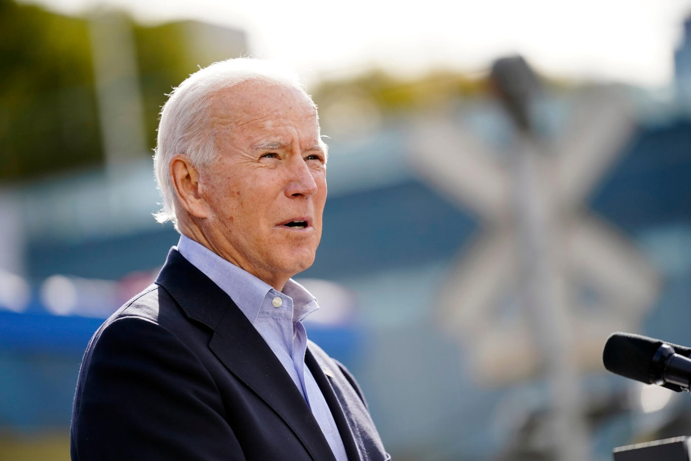 President-Elect Joe Biden speaks during a campaign stop at Amtrak's Cleveland Lakefront train station, Sept. 30, 2020, in Cleveland. (AP Photo/Andrew Harnik)