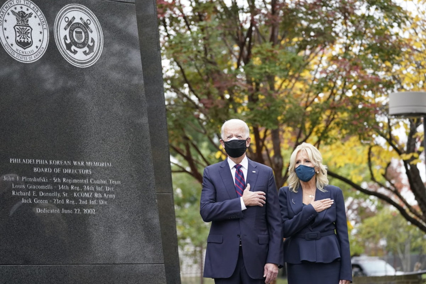 President-elect Joe Biden and Jill Biden, attend a service at the Philadelphia Korean War Memorial at Penn's Landing on Veterans Day, Wednesday, Nov. 11, 2020, in Philadelphia. (AP Photo/Alex Brandon)