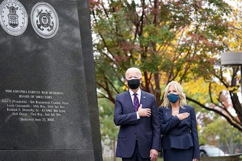 President-elect Joe Biden and Jill Biden, attend a service at the Philadelphia Korean War Memorial at Penn's Landing on Veterans Day, Wednesday, Nov. 11, 2020, in Philadelphia. (AP Photo/Alex Brandon)