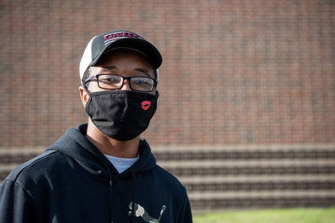 """I'm glad I'm able to vote because I feel like this is an important time to do it. This year's been crazy,"" said 20-year-old Clayton Johnson, of Warrington, who would like to see a better handling of the coronavirus pandemic. (Keystone Photo/Michele Haddon)"