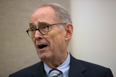 In this March 28, 2014 file photo, former Pennsylvania Gov. Dick Thornburgh recounts the Three Mile Island Nuclear Crisis during a two-day event marking the 35th anniversary of the partial core meltdown at the Three Mile Island nuclear power plant in Middletown, Dauphin County. Thornburgh died Thursday, Dec. 31, 2020 at a retirement community facility outside Pittsburgh, his son David said. The cause it not yet known. (The Patriot-News Photo via AP/Mark Pynes)
