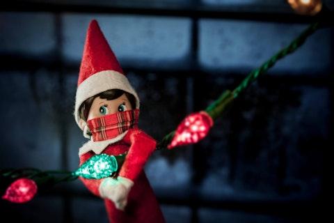 The elf on the shelf wears a mask. (Shutterstock Photo/Willrow Hood)