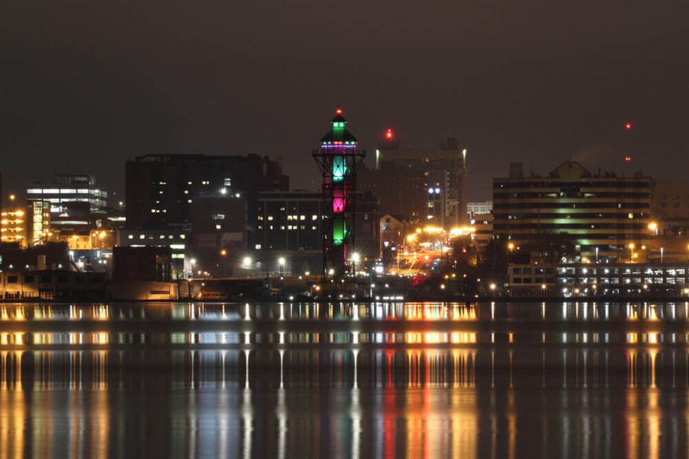 The Bicentennial Tower is lit for the holidays in 2018. The Tower stands between the Bayfront Parkway and Lake Erie.(Shutterstock)