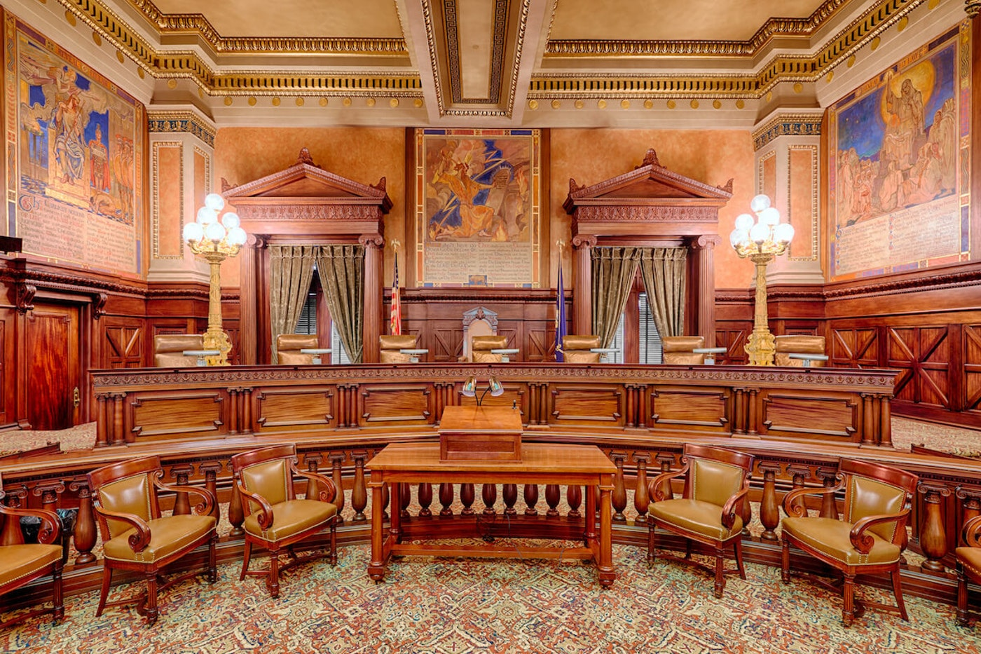 The Supreme Court Chamber in the Pennsylvania State Capitol building in Harrisburg, Pennsylvania. (Shutterstock Photo/Nagel Photography)
