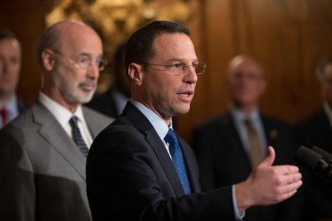 Attorney General Josh Shapiro, speaking in front of Gov. Tom Wolf in 2019. (Office of Gov. Tom Wolf)