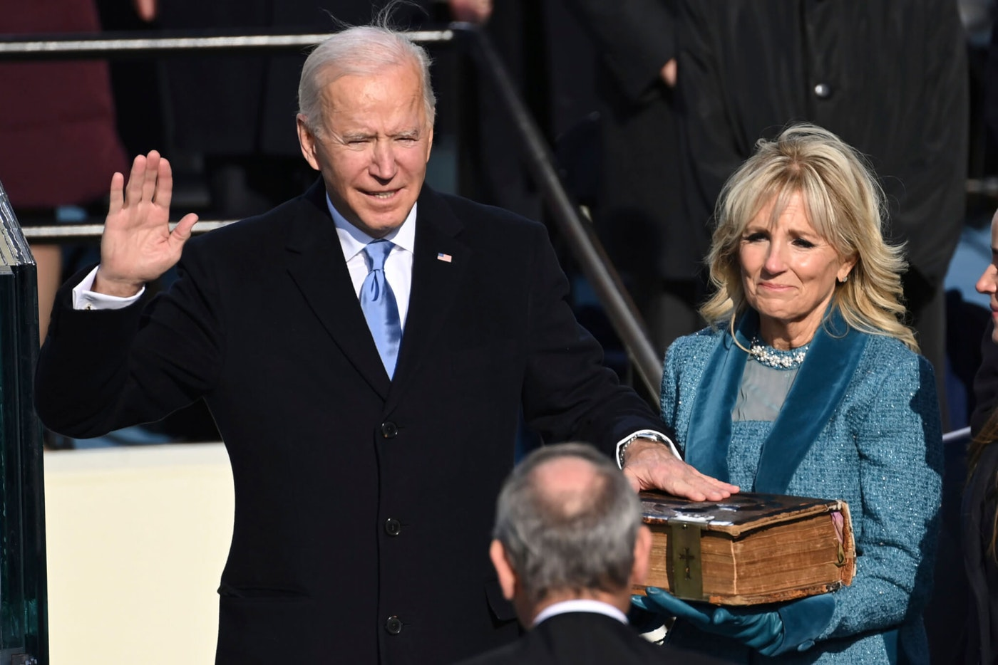 Joe Biden is sworn in as the 46th president of the United States by Chief Justice John Roberts as Jill Biden holds the Bible during the 59th Presidential Inauguration at the US Capitol in Washington, Wednesday, Jan. 20, 2021. (Agence France-Presse Photo via AP/Saul Loeb)
