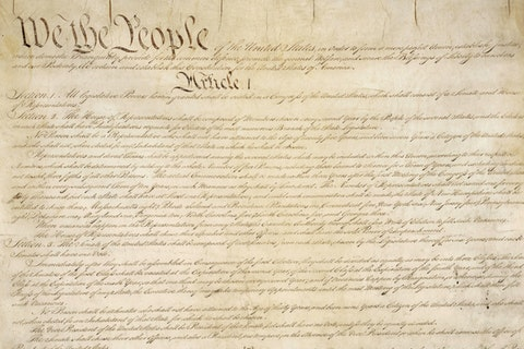 This photo made available by the US National Archives shows a portion of the first page of the United States Constitution. According to NPD BookScan, which tracks around 85 percent of the print market, more than 1 million copies of the Constitution in various editions were sold since Trump took office. The sales are especially notable because the Constitution can be read or downloaded for free, including from the US government. (National Archives via AP)