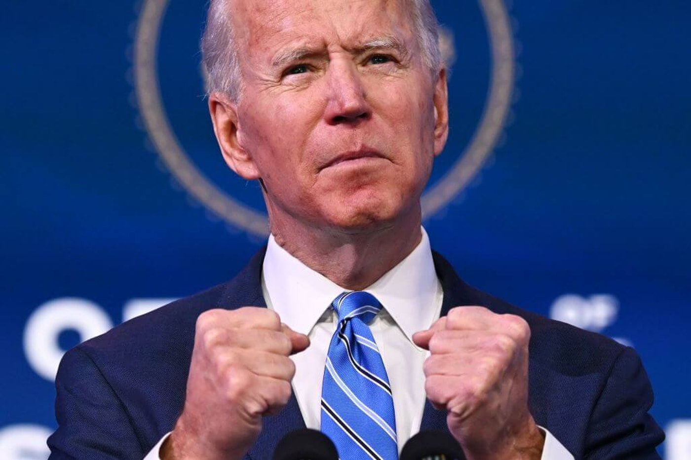 US President-elect Joe Biden delivers remarks on the public health and economic crises at The Queen theater in Wilmington, Delaware on January 14, 2021. - President-elect Joe (Photo by JIM WATSON/AFP via Getty Images)
