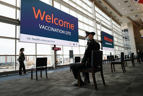 Gillette Stadium is the Commonwealth' s first large-scale COVID-19 vaccination site, operated by CIC Health. (Photo by Suzanne Kreiter/The Boston Globe via Getty Images)