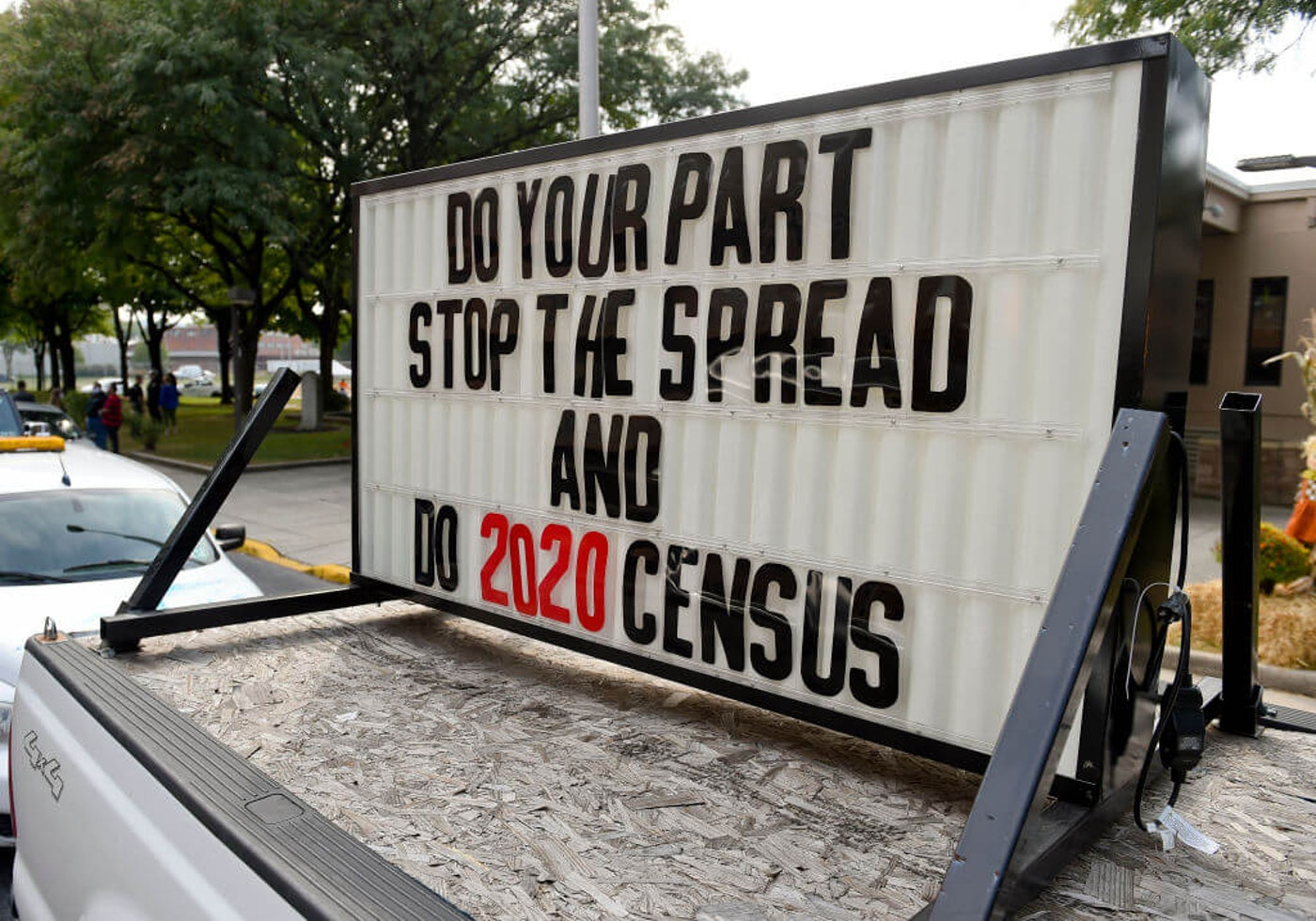 "A sign on the back of a truck in the caravan that reads ""Do your part, stop the spread and do 2020 Census."" Outside the 3rd and Spruce Recreation Center in Reading Friday afternoon September 25, 2020 where the City of Reading held an event to encourage people to fill out the census. (Photo by Ben Hasty/MediaNews Group/Reading Eagle via Getty Images)"