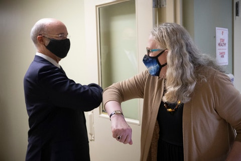 Gov. Tom Wolf greets Dr. Rachel Levine in August. They discussed the rising coronavirus numbers Friday as well as the roll out of the vaccines. (Flickr/Office of Gov. Tom Wolf)