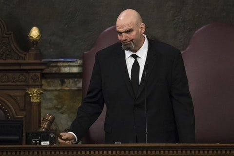 Lt. Gov. John Fetterman gavels in a joint session of the Pennsylvania House and Senate before Democratic Gov. Tom Wolf delivers his budget address for the 2019-20 fiscal year, Harrisburg, Tuesday, Feb. 5, 2019. (AP Photo/Matt Rourke)