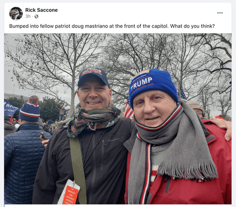 State Sen. Doug Mastriano, R-Franklin, and former state Rep. Rick Saccone at the rally in DC on Wednesday, Jan. 6, 2021. (Screenshot)